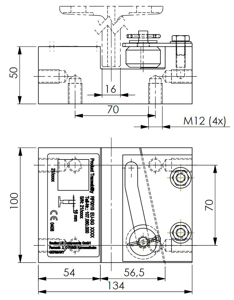 Skizze des Grundkörpers der Fangvorrichtung RF0010 mit Zeichnungsmaßen