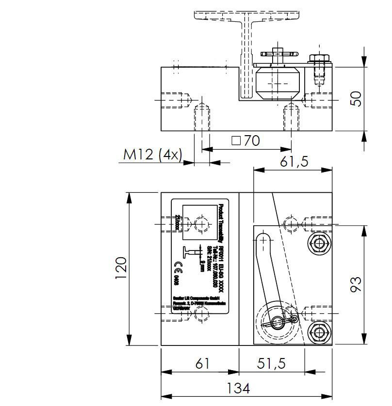 Skizze des Grundkörpers der Fangvorrichtung RF0011 mit Zeichnungsmaßen