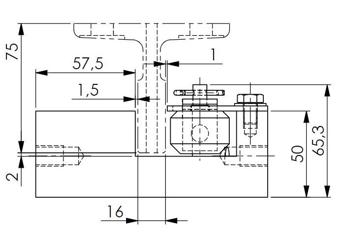 Skizze des Grundkörpers der Fangvorrichtung RF0001 mit Zeichnungsmaßen