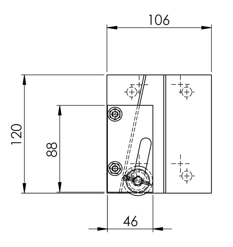 Skizze des Grundkörpers der Fangvorrichtung RF0002 mit Zeichnungsmaßen